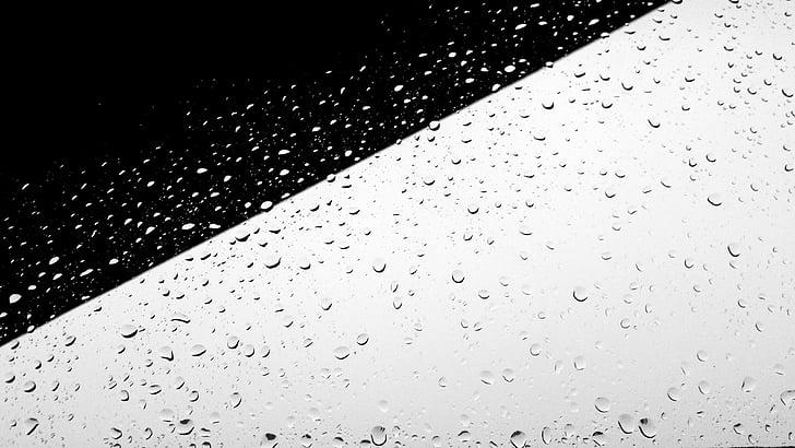 czarny biały, minimalne, minimalistyczne, minimalistyczne, deszcz, krople deszczu, deszczowa
