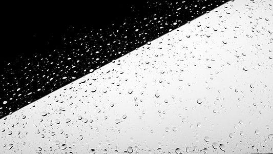 đen trắng, tối thiểu, nhỏ gọn, Minimalistic, mưa, giọt mưa, mưa