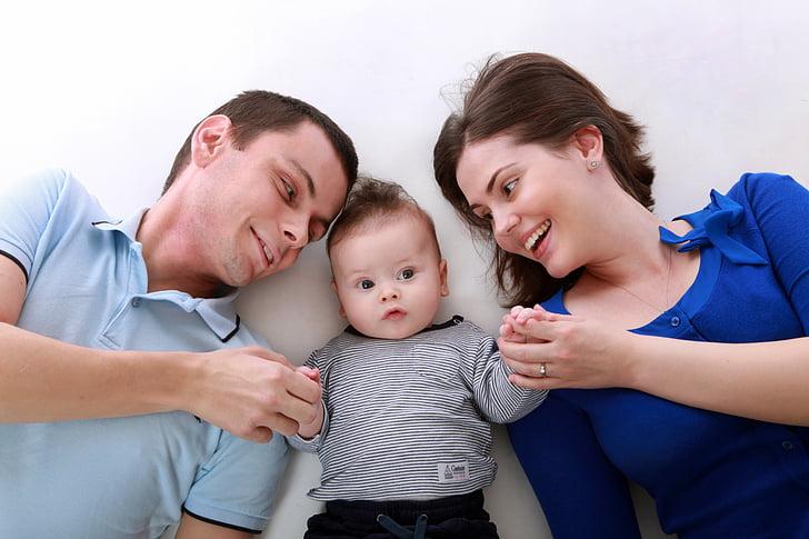 família, nen, hapy, feliç, persones, infantesa, família jugant