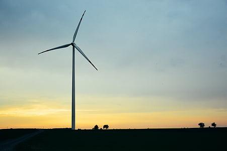 Molí de vent, energia alternativa, generador, cel, electricitat, poder, ambiental