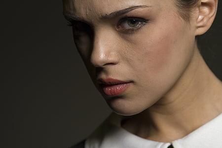 žene, lijepa, modela, izloženost, portret, ljudski, lice