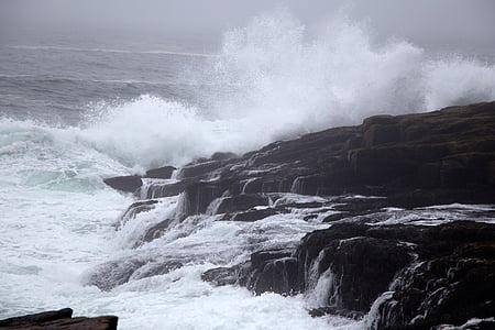 Costa, natura, oceano, rocce, mare, vista sul mare, Seashore