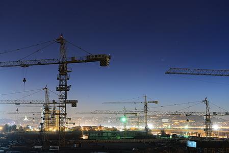 Enginyeria, gruix mecànica, estrelles de la ciutat, crepuscle, tard, Grua, construcció