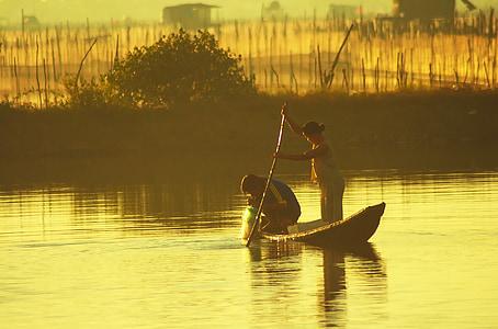 Lagoon, fisk, fiskare, fiskebåt, Asia, Kinesiska, Vietnam