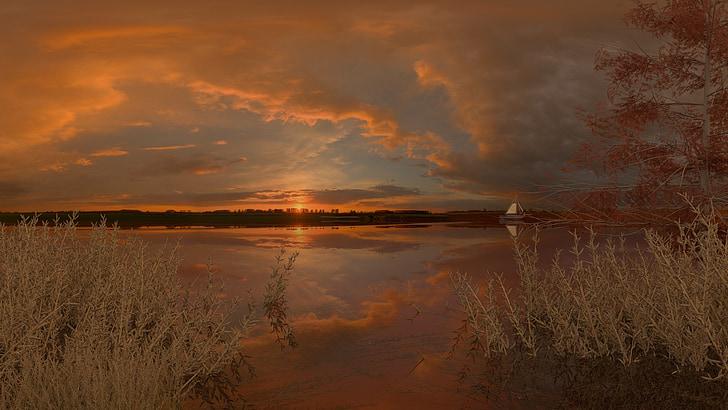 Llac, posta de sol, natura, calma, tranquil