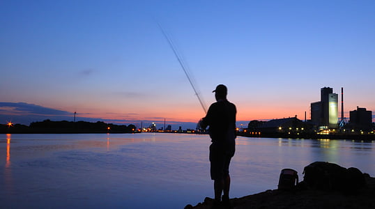 fish, angler, sunset, water, fishing, fishing rod, catch fish