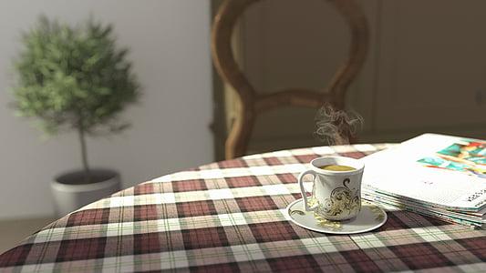 thee tafel, thee, tabel, ochtend, Beker, hete, drankje