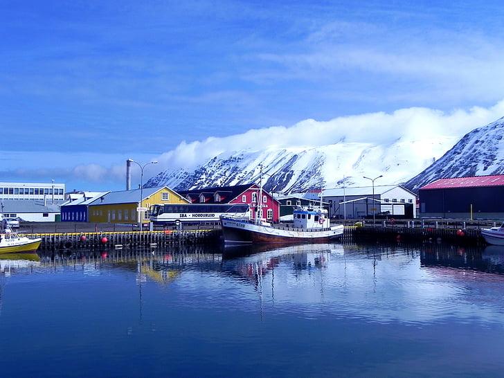 Исландия, най-северната места, siglusfjoerdur, порт, настроение, лед, вода