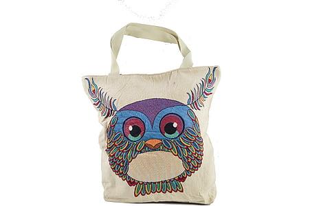 bag, cloth bag, bag with owl