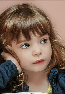 muotokuva, pieni tyttö, lapsi, kasvot, lapsen muotokuva, silmät, herkku