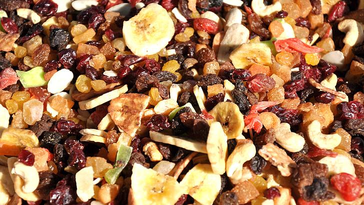 kuivatatud puuviljad, segatud, toidu