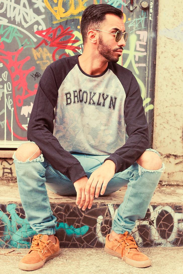 graffiti, man, street, urban, one man only, one person, sitting