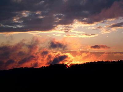 일몰, 구름, 저녁 하늘, 잔 광, 태양, abendstimmung, 스카이