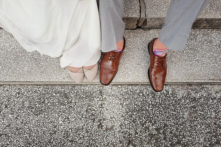 peus, calçat, cuir, home, persones, sabates, dona