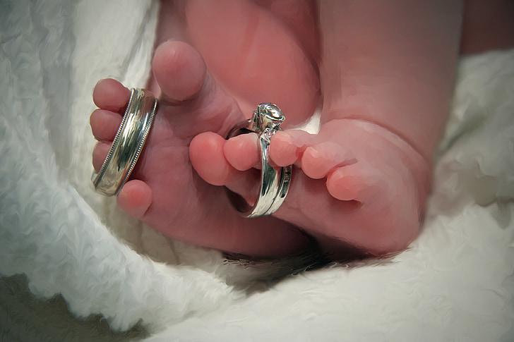 casament, anells, nadó, nadó, educació infantil, dits dels peus, pare