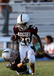 football, action, running back, youth league, ball, field, sport