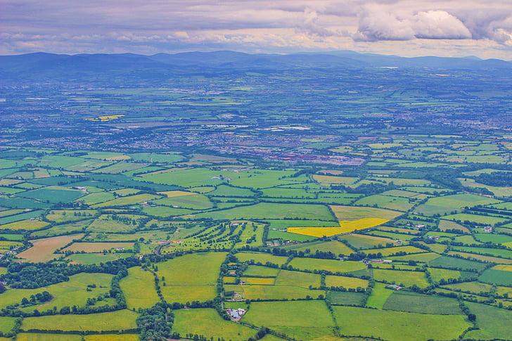ireland, landscape, fields, dublin, aerial view, green, europe