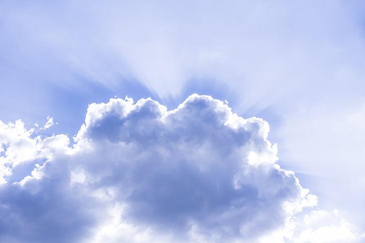 cloud, sky, sunbeam, rays, heavenly, mood, atmosphere