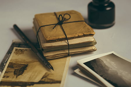old letters, quill, old photos, pen, letter, ink, old