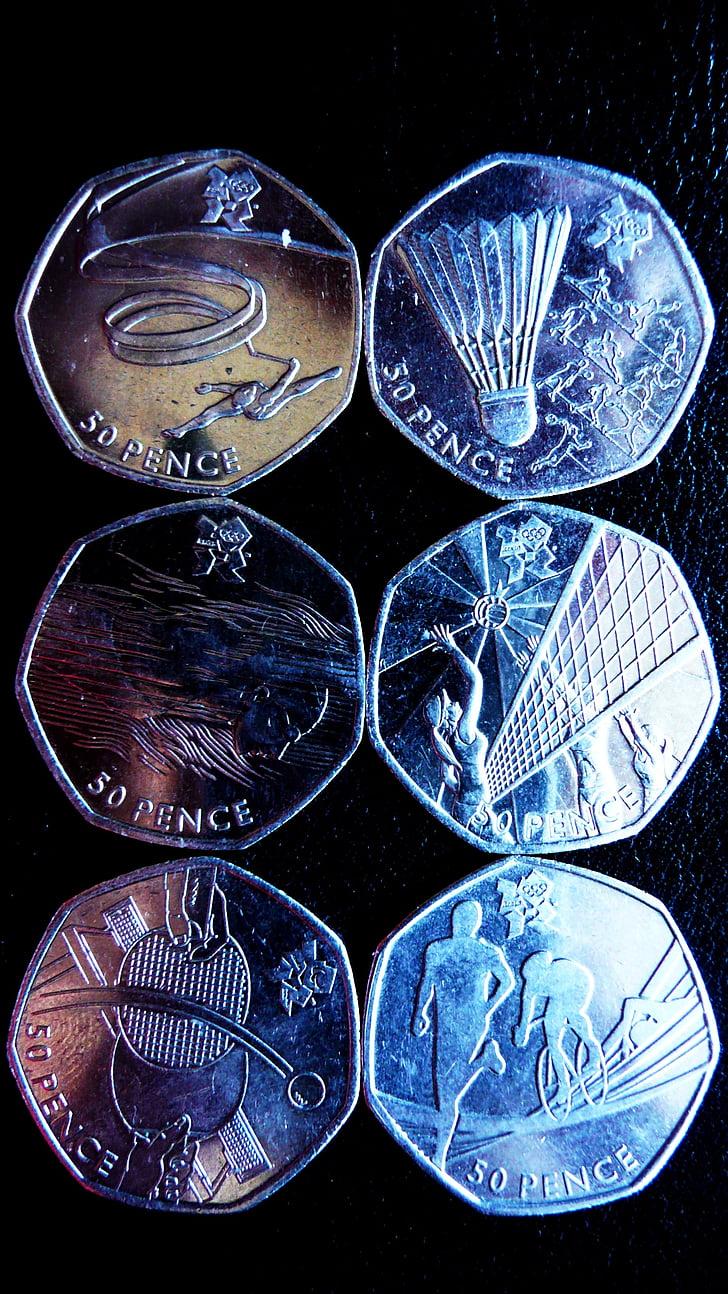 χρήματα, σπορ, κέρματα, Ολυμπιακοί Αγώνες, πενήντα, πένες, Βρετανοί