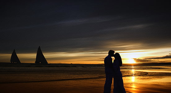 sunset, kiss, love, young, couple, people, happy