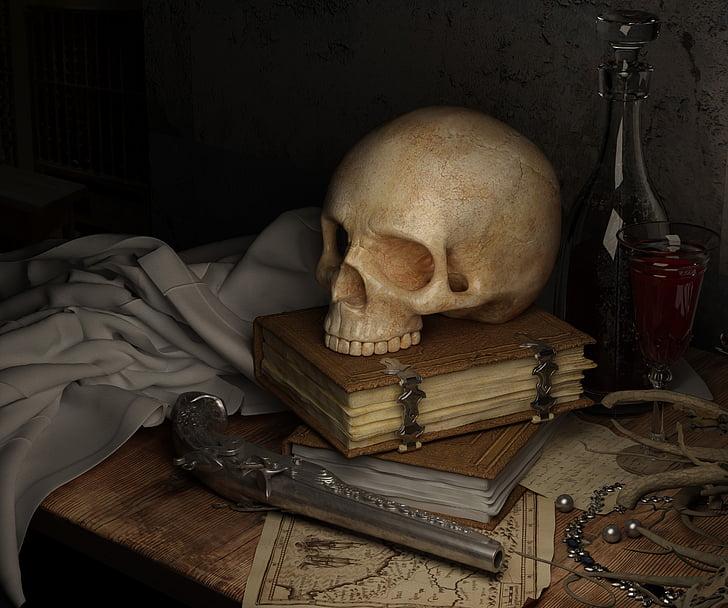 kranium, mørk, kort, bog, pistol, stadig liv, human skelet
