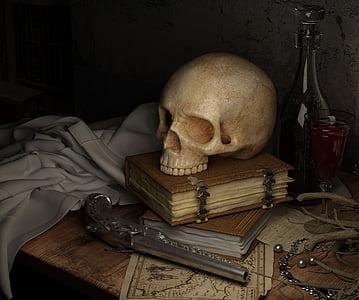skull, dark, map, book, gun, still life, human skeleton
