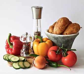 pomidory, papryka, warzywa, witaminy, jeść, jedzenie, kuchnia