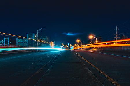 asfalt, edificis, ciutat, llums de la ciutat, paisatge urbà, fosc, nit