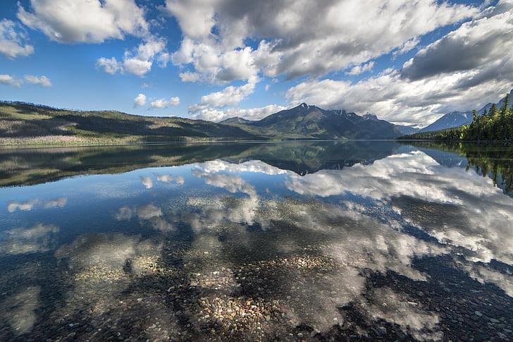 Llac mcdonald, paisatge, núvols, reflexió, l'aigua, muntanyes, horitzó