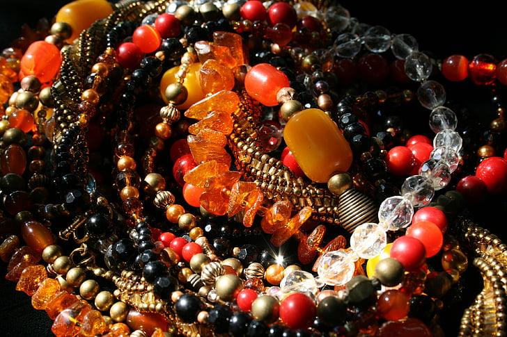 kralen, Parel Kettingen, multi-gekleurde, Amber, Amethist, glaskralen, rood