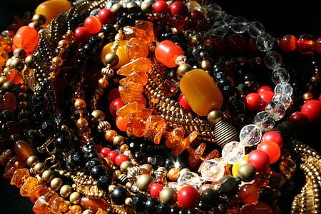 perles, collars de comptes, Multi-color, ambre, Ametista, perles de vidre, vermell