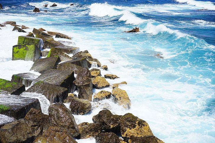 hullámtörő, hullám, tenger, óceán, víz, spray, Fecskendezzünk be