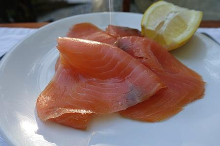 salmó fumat amb, salmó, peix, fumat, menjador, gust, aliments