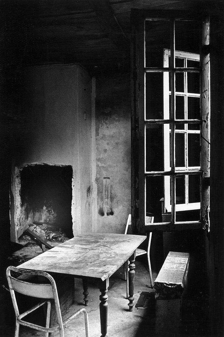 Таблиця, Стілець, Їдальня, Старий, Історично, вікно, abendstimmung
