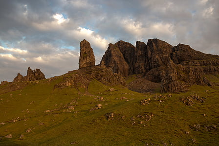 old man of storr, rock, mountains, sunrise, clouds, mood, clouded sky