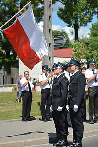 polish flag, the ceremony, flag, fire department, people, armed Forces, military