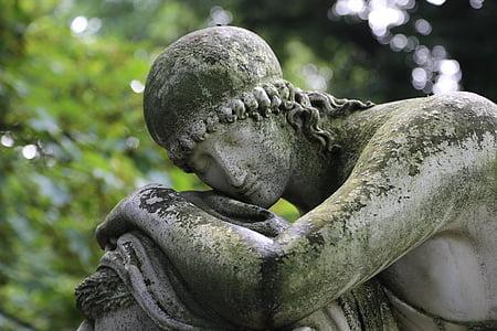 Cementerio, Figura, estatua de, sepulcro, escultura, figura de tumba, figura de piedra