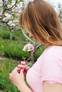 girl, portriat, flowers, young, lady, pink, smile