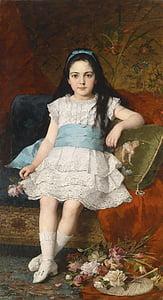 gyorgy vastagh, สาว, เด็ก, แนวตั้ง, ภาพวาด, สีน้ำมันบนผ้าใบ, ศิลปะ