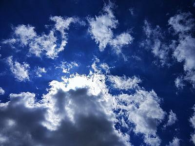 taivas, pilvet, sininen, kesällä, kirkas sininen taivas, Sää, muodossa