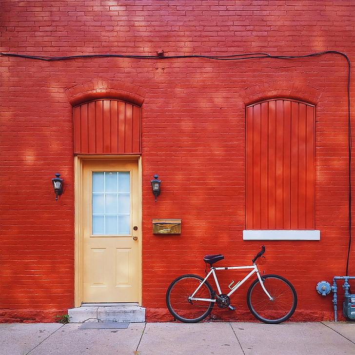 vermell, casa, casa, llar dolça llar, bicicleta, cicle, transport
