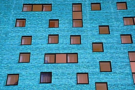 Avaleht, hoone, seina, akna, fassaad, arhitektuur, sinine