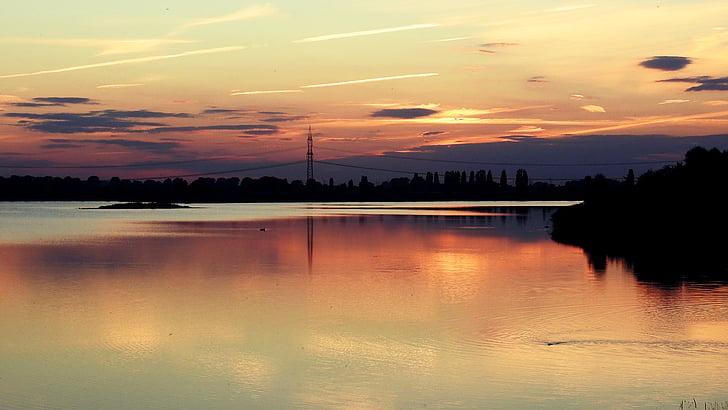 일몰, 호수 풍경, 실루엣, abendstimmung, 구름, 스카이