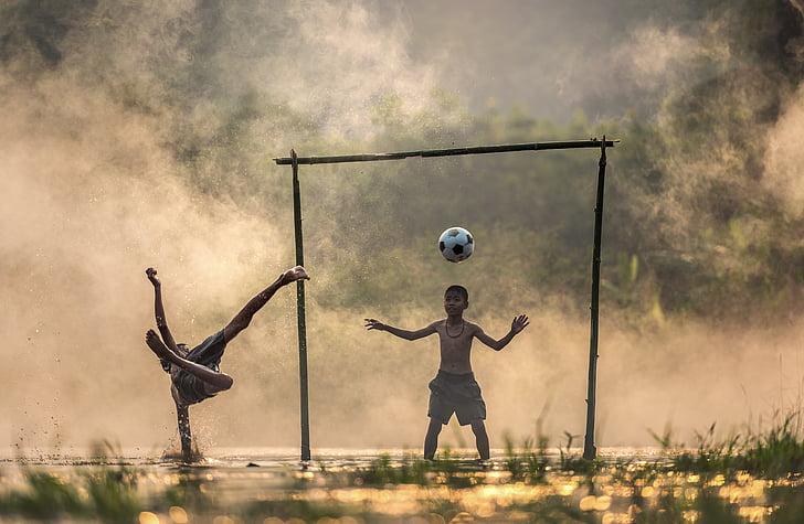 barn, kampen, elven, angrep, kampsport, boksing, skyen