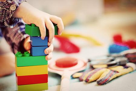 เด็ก, ทาวเวอร์, บล็อกไม้, โรงเรียนอนุบาล, เล่น, ของเล่น, เด็ก