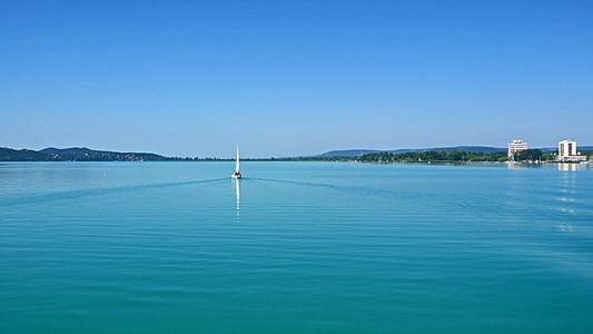 Λίμνη Μπάλατον, Δυτικός με 5 mph, ιστιοπλοϊκό σκάφος, επιφάνεια λεία νερού