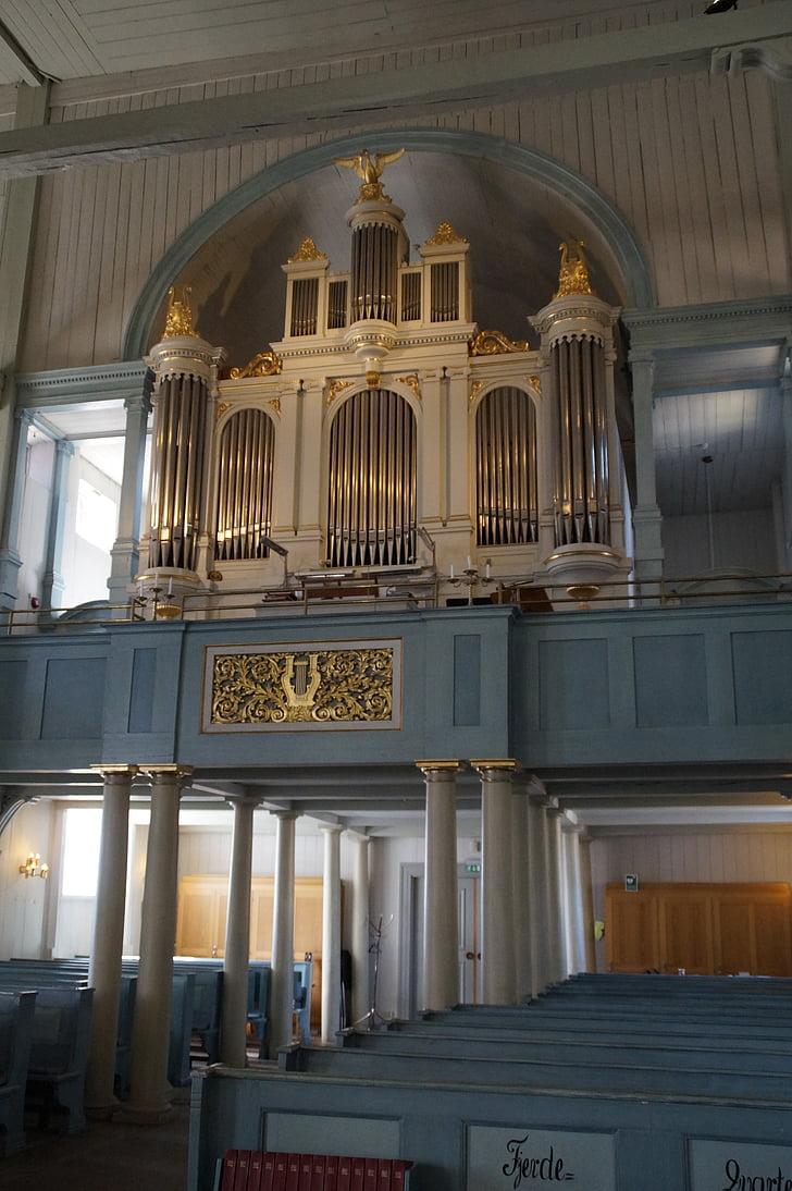 Església de fusta, òrgan, òrgan de l'església, Suècia, l'església, xiulet de l'òrgan, arquitectura