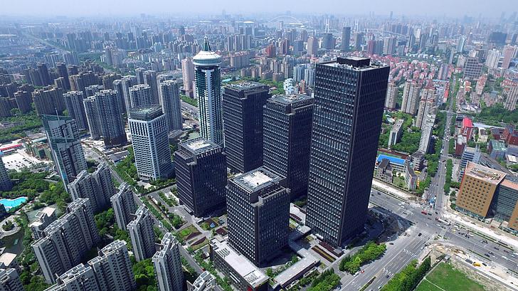 panoràmica, Xina, Xangai, Lu jia zui, edifici