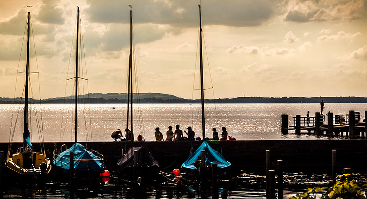 zomer, jeugd, Lake, water, jonge mensen, boten, Kai